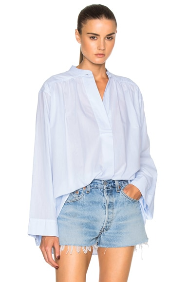 Helmut Lang Front Seam Detail Top in Light Blue