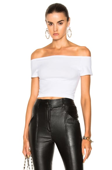 Cropped Off Shoulder Seamless Top