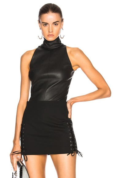 Leather Mock Neck Top