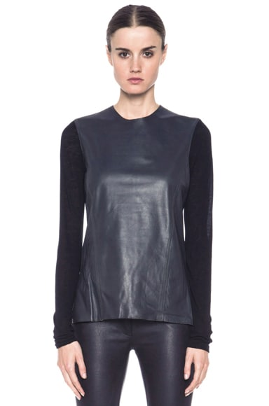 Smooth Hide Jersey Sleeve Leather Front Top