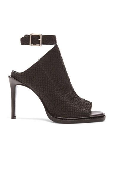 Helmut Lang Open Toe Leather Heels in Black