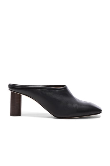 Helmut Lang Square Toe Leather Mules in Black
