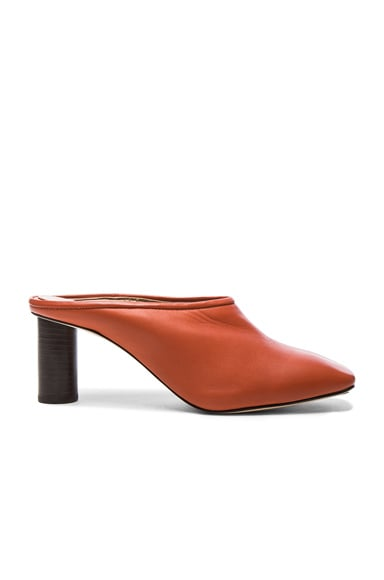 Helmut Lang Square Toe Leather Mules in Sard