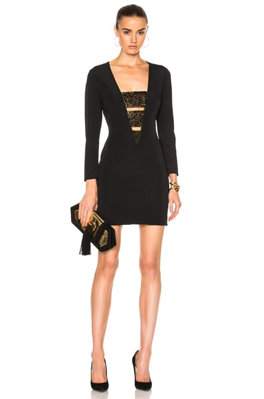 HANEY Daphne Dress in Black & Gold Crystals