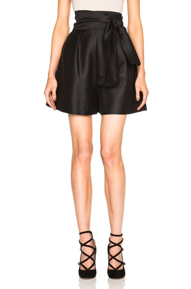 Isa Arfen Silk Wrap Shorts in Black