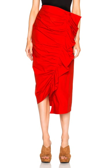 Isa Arfen Ruched Up Skirt in Tomato Red
