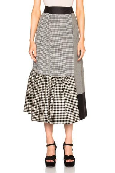 Isa Arfen Asymmetric Wrap Skirt in Check Multi