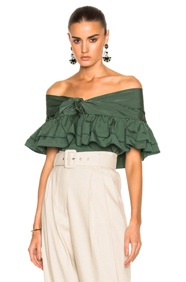 Isa Arfen Ruffle Knot Top with Short Sleeves in Amazon