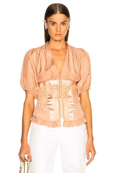 Corset Top With Puff Sleeves Top