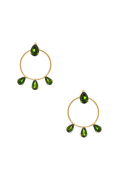 Ileana Makri Diamond Tears Stud Hoops in Yellow Gold