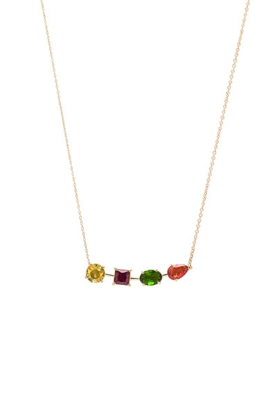 Ileana Makri Multi Shape Branch Necklace in Yellow Gold