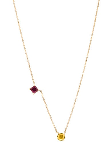 Ileana Makri Round & Square Necklace in Yellow Gold