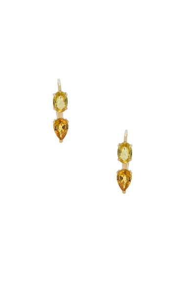 Ileana Makri Oval & Pear Earrings in Yellow Gold