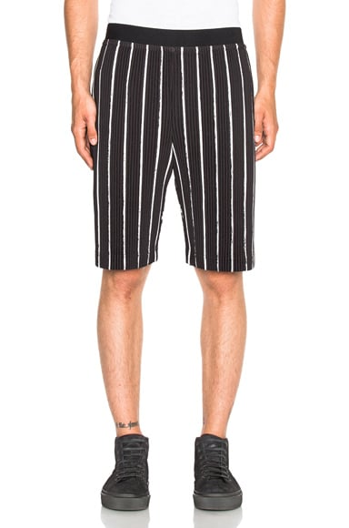 Issey Miyake Homme Plisse Flags Shorts in Black & White