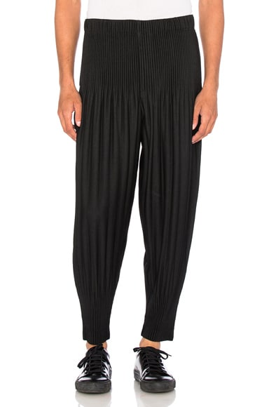 Issey Miyake Homme Plisse Pleated Long Trousers in Black