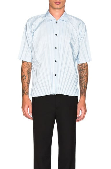 Issey Miyake Homme Plisse Edge Shirt in Light Blue