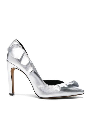 IRO Leather Escavoly Heels in Silver