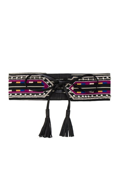Isabel Marant Rider Embroidery Belt in Black