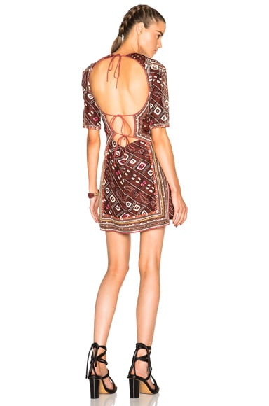 Isabel Marant Tacey Embroidered Printed Silk Dress in Burgundy