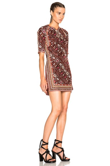 Tacey Embroidered Printed Silk Dress