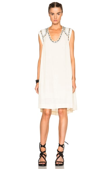Isabel Marant Cazar Light Silk Bourette Dress in Ecru
