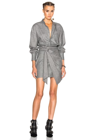 Isabel Marant Khol Draped Stuff Dress in Ecru & Black