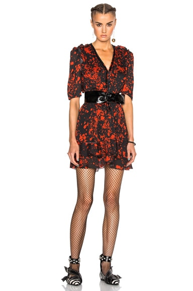 Isabel Marant Irina Printed Silk Dress in Red