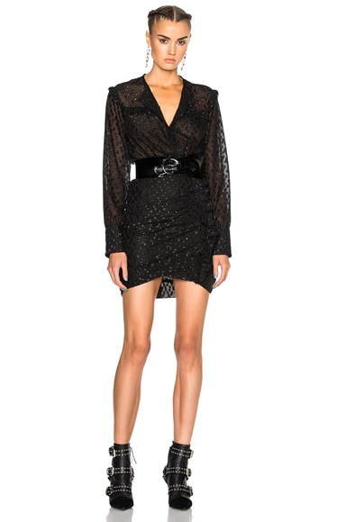 Isabel Marant Adriana Lurex Dot Dress in Black