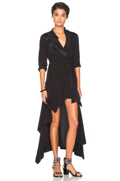 Isabel Marant Leia Silk Dress in Black