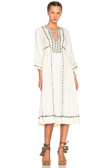 Isabel Marant Clayne Light Silk Bourette Dress in Ecru