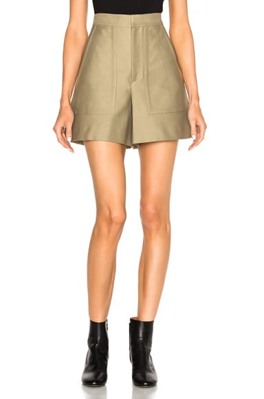 Isabel Marant Satia Cotton Costard Shorts in Taupe