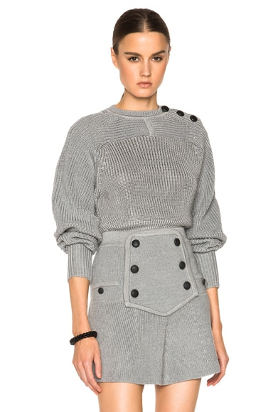 Isabel Marant Heaton Dressy Knit Sweater in Light Grey