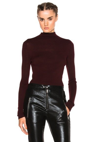 Isabel Marant Zasha Thin Ribbed Knit Sweater in Burgundy