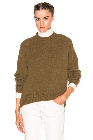 Isabel Marant Finn Baby Camel Knit Sweater in Khaki