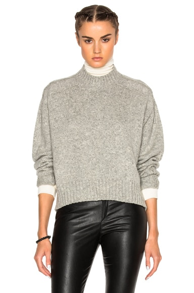 Isabel Marant Fleming Baby Camel Knit Sweater in Light Grey