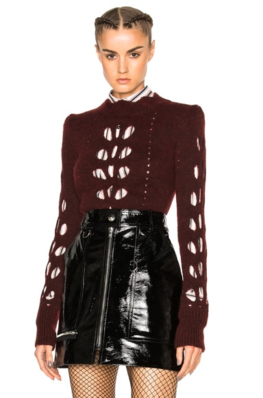 Isabel Marant Ilia Openwork Knit Sweater in Burgundy