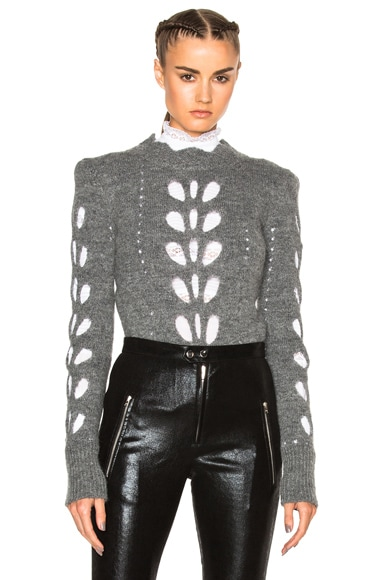 Isabel Marant Ilia Openwork Knit Sweater in Grey