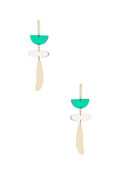 Isabel Marant Brass Drop Earrings in Bottle Green