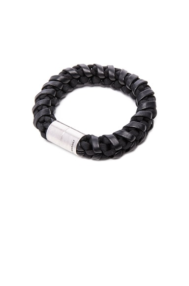 Isabel Marant Sammy Braided Bracelet in Black & Brass