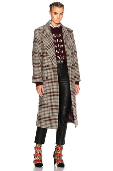 Isabel Marant Flint Plaid Coat in Beige