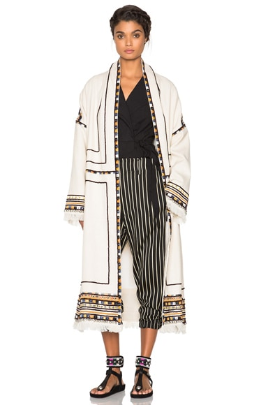 Isabel Marant Bering Embroidered Coat in Ecru