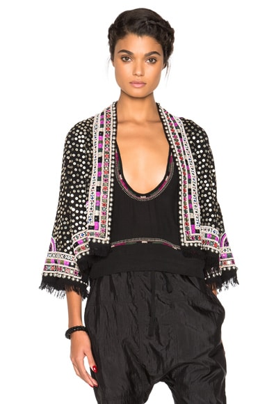 Isabel Marant Baikal Embroidered Coat Jacket in Black