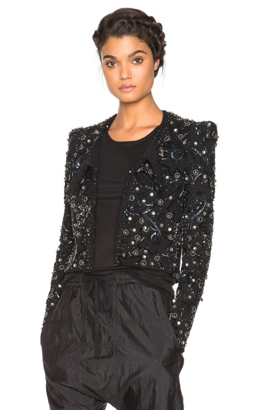 Isabel Marant Felipe Embroidered Spencer Jacket in Black & Silver