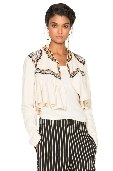 Isabel Marant Sabriel Embroidered Cotton Twill Jacket in Ecru
