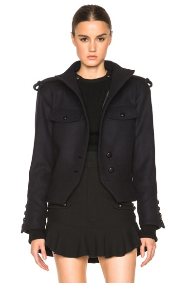 Isabel Marant Kieffer Brandebourg Flannel Jacket in Midnight