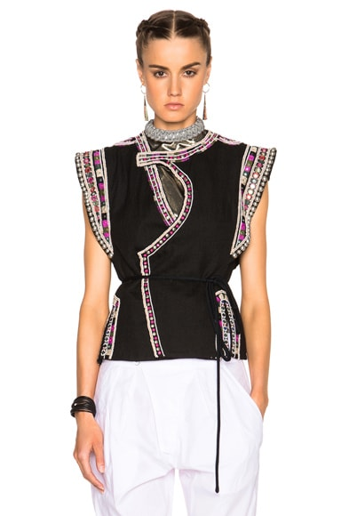 Isabel Marant Blaine Embroidered Coat Vest in Black