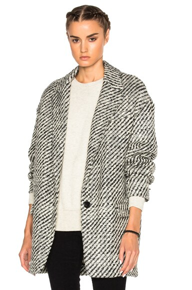 Isabel Marant Ilaria Tweedy Coat in Ecru Grey