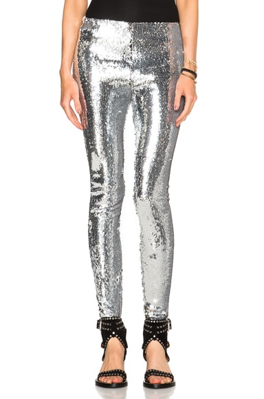 Isabel Marant Izard Glitter Leggings in Silver