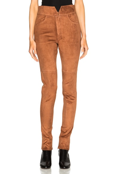 Isabel Marant Eydie Stretch Suede Pants in Chestnut