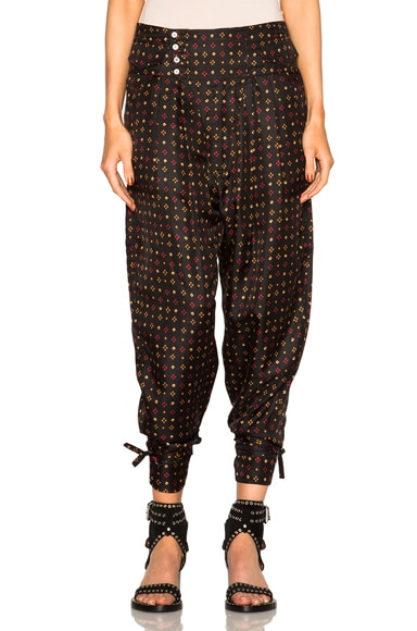 Isabel Marant Tanji Tie Twill Pants in Black